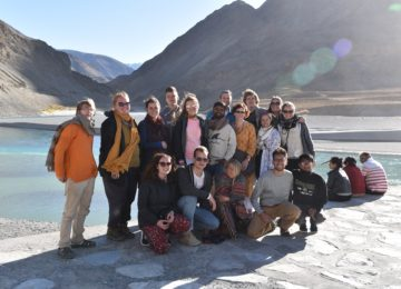 At Sangam Valley - The confluence of rivers Indus and Zanskar in Leh, Jammu & Kashmir