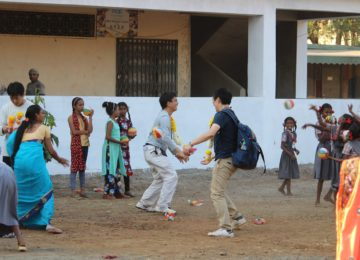 Games with children in a rural village
