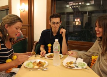 Students from USYD enjoying their first Indian meal in Mumbai