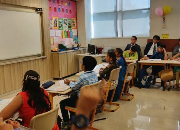 Observing Indian classroom teaching at Maina Devi Bajaj International School