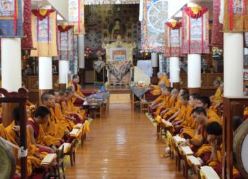 Buddhist monks chanting at HH Dalai Lama temple, tsuglagkhang complex, Dharamshala, on the auspicious day of Vesak