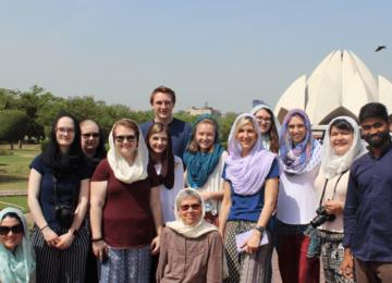 At the Lotus temple, Delhi, where students learned about Bahá'í faith