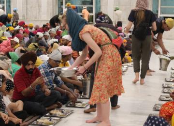 Serving at Langar at Gurudwara Bangla Sahib, Delhi